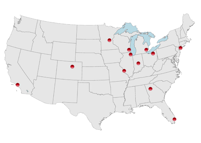 A map of the continental US showing Commercial Real Estate locations.